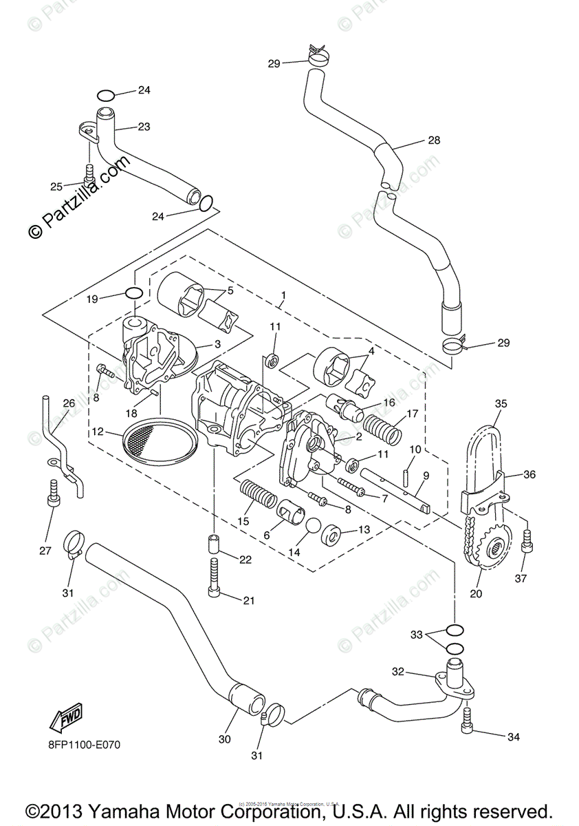 Yamaha Snowmobile 2006 OEM Parts Diagram for Oil Pump
