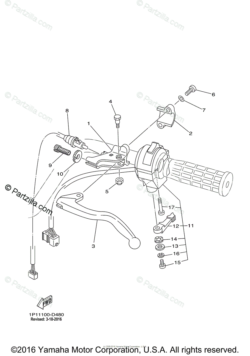 Yamaha ATV 2005 OEM Parts Diagram for Handle Switch-Lever