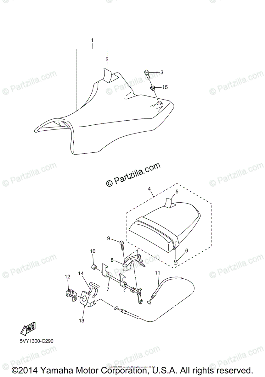 Yamaha Motorcycle 2005 OEM Parts Diagram for Seat