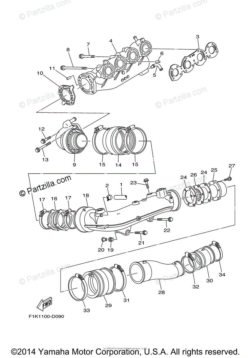 Yamaha Waverunner 2006 OEM Parts Diagram for Exhaust (1