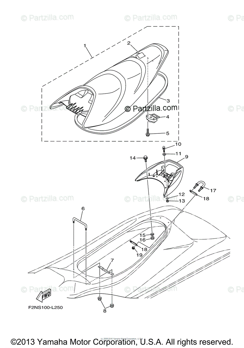 Yamaha Waverunner 2012 OEM Parts Diagram for Seat & Under