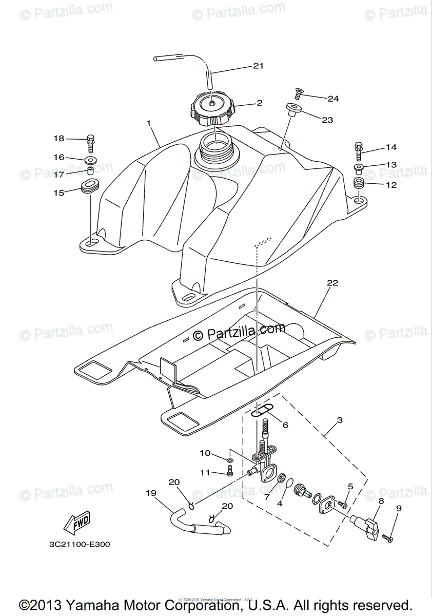Yamaha ATV 2006 OEM Parts Diagram for Fuel Tank