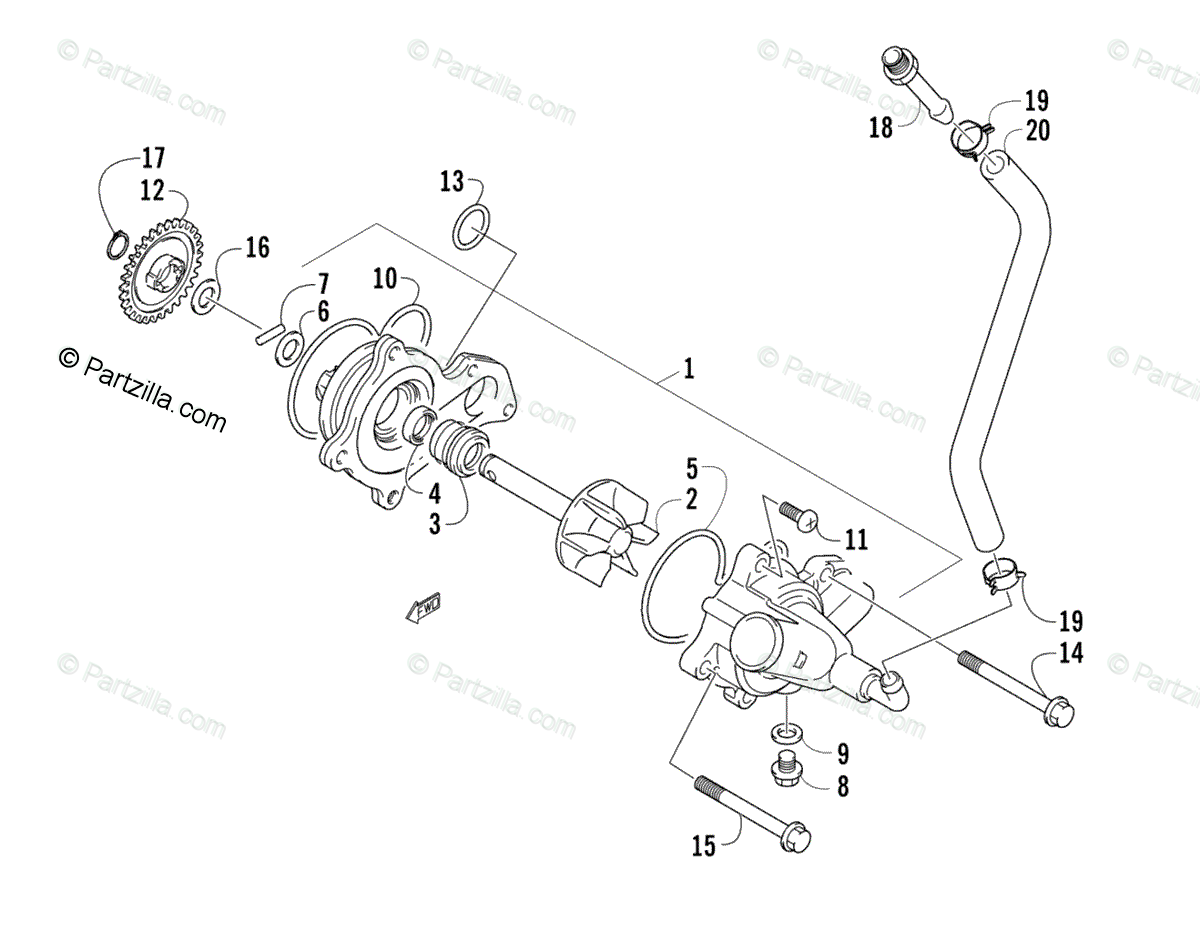 Arctic Cat ATV 2008 OEM Parts Diagram for Water Pump
