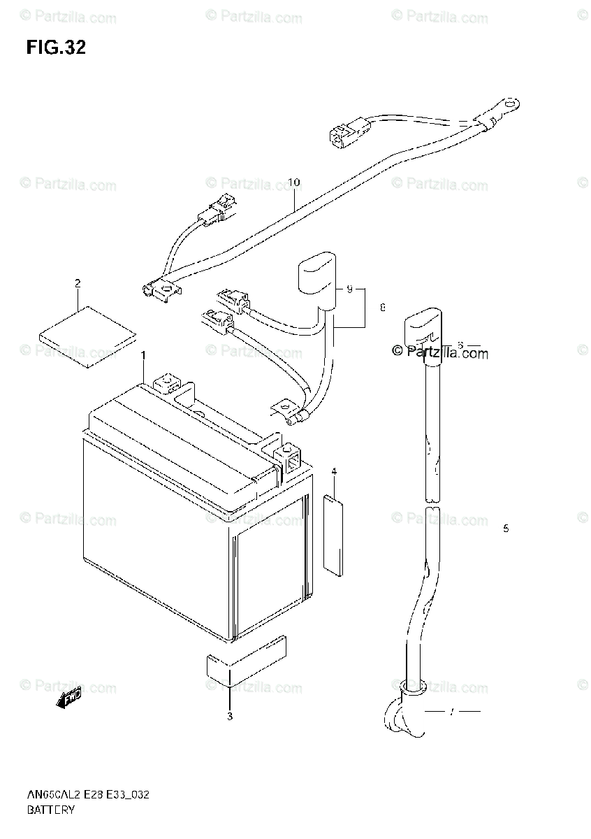 Suzuki Scooters 2012 OEM Parts Diagram for BATTERY