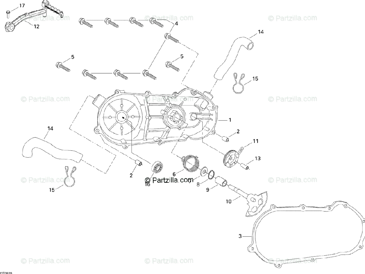 Can-Am ATV 2008 OEM Parts Diagram for CVT Cover And Kick