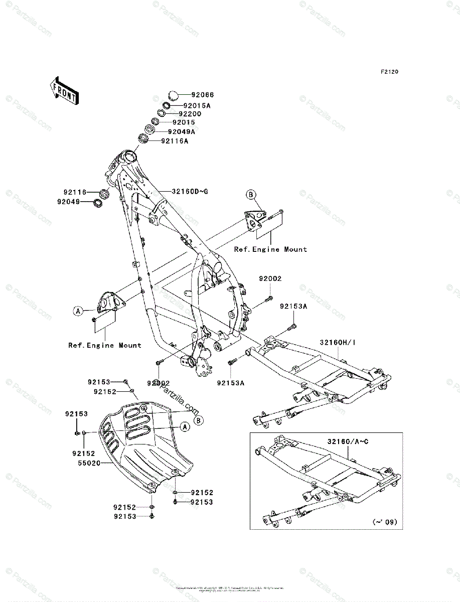 Kawasaki Motorcycle 2008 OEM Parts Diagram for Frame