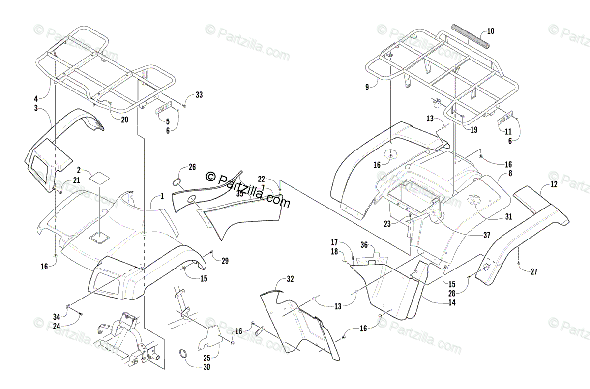 Arctic Cat ATV 2002 OEM Parts Diagram for Body Panel