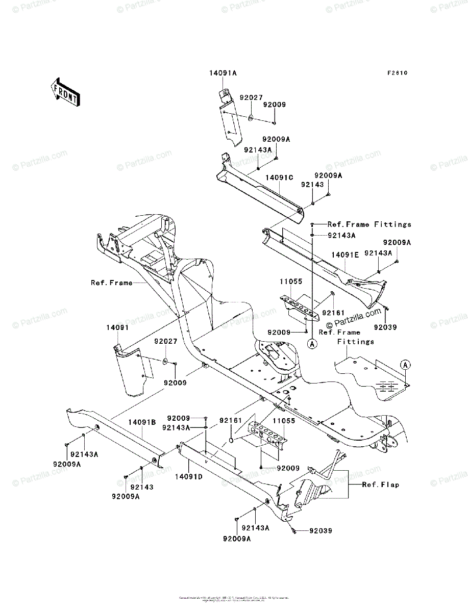 Kawasaki Side by Side 2012 OEM Parts Diagram for Side