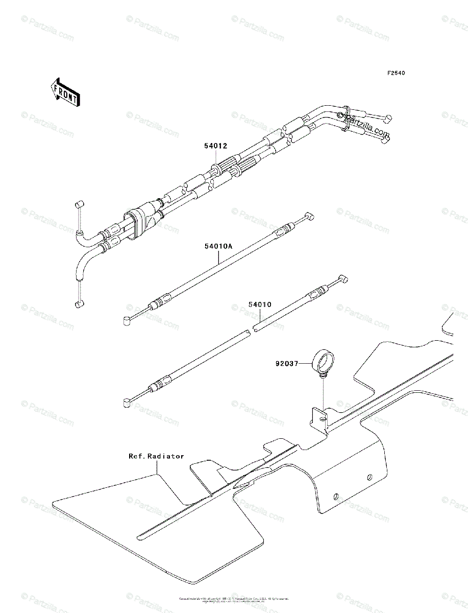 Kawasaki Motorcycle 2006 OEM Parts Diagram for Cables