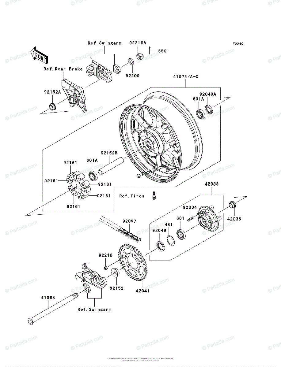 Kawasaki Motorcycle 2008 OEM Parts Diagram for Rear Wheel