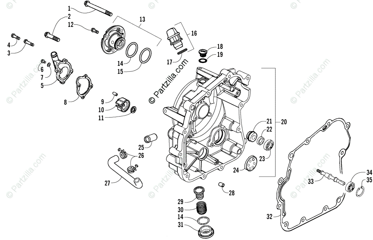Arctic Cat ATV 2007 OEM Parts Diagram for Crankcase/Cover
