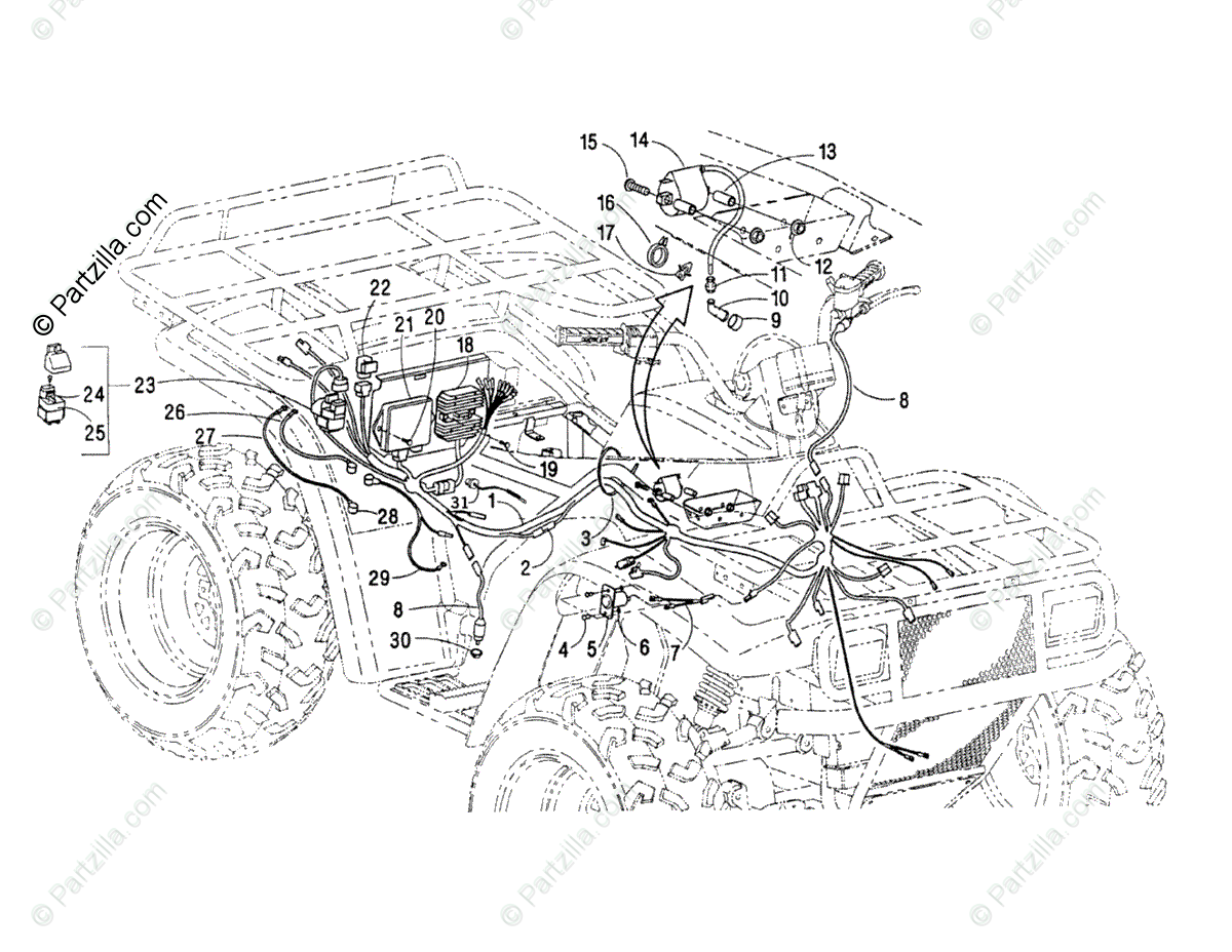 Arctic Cat ATV 2000 OEM Parts Diagram for Wiring Harness