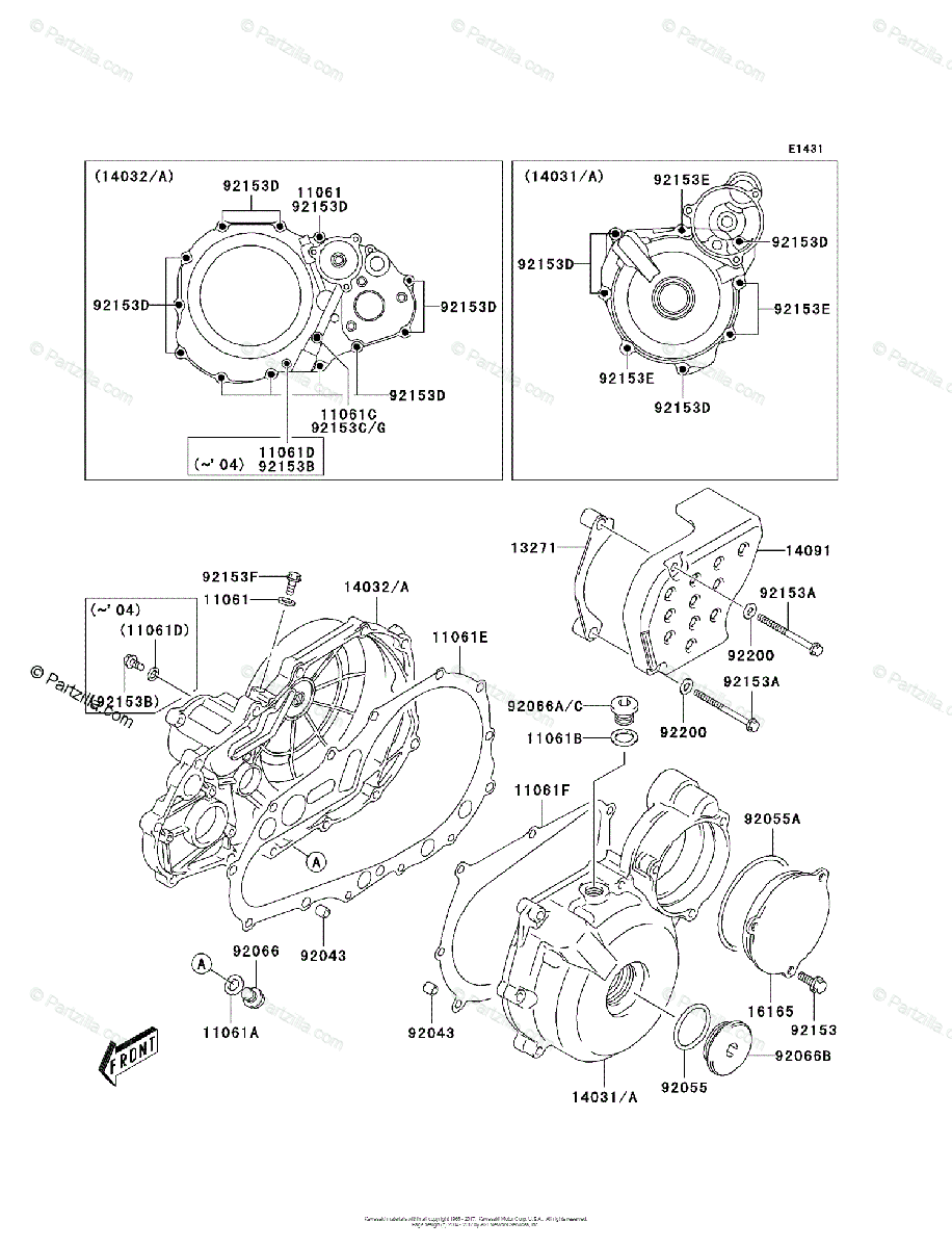 Kawasaki ATV 2005 OEM Parts Diagram for Engine Cover(s