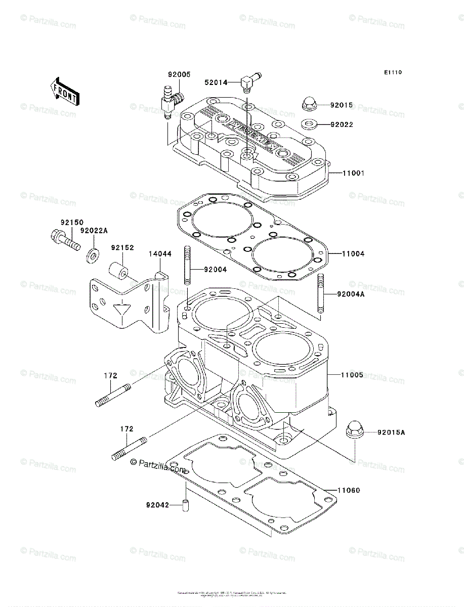 Kawasaki Jet Ski 2009 OEM Parts Diagram for Cylinder Head