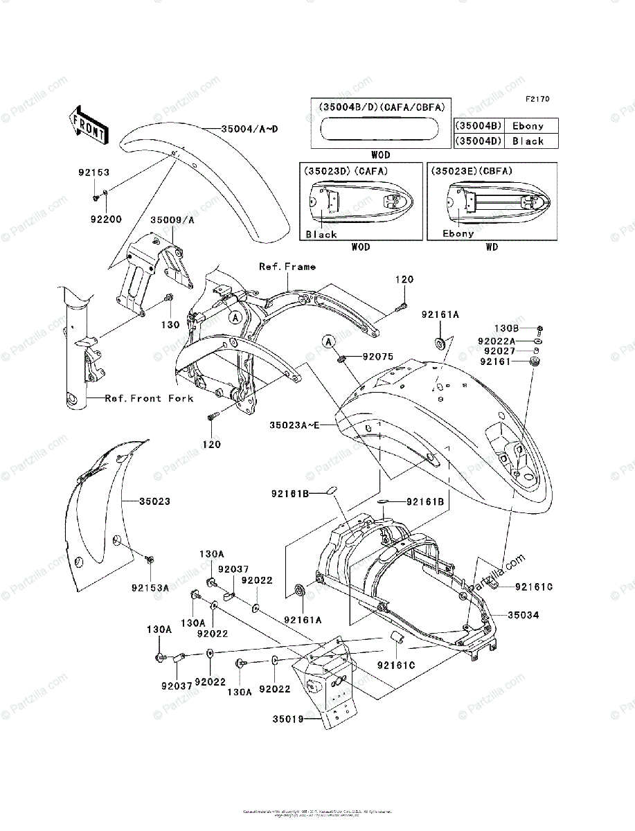 Kawasaki Motorcycle 2010 OEM Parts Diagram for Fenders