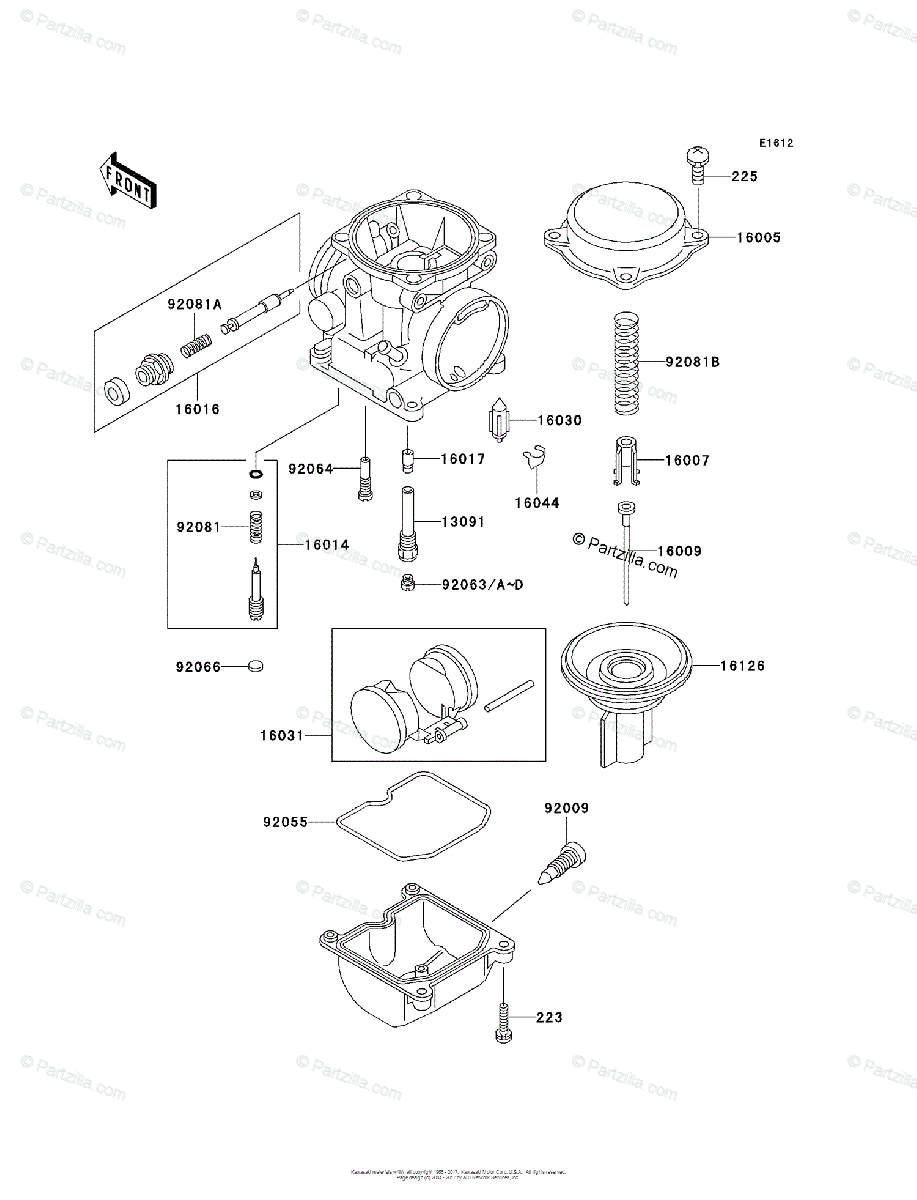Kawasaki Motorcycle 2002 OEM Parts Diagram for Carburetor