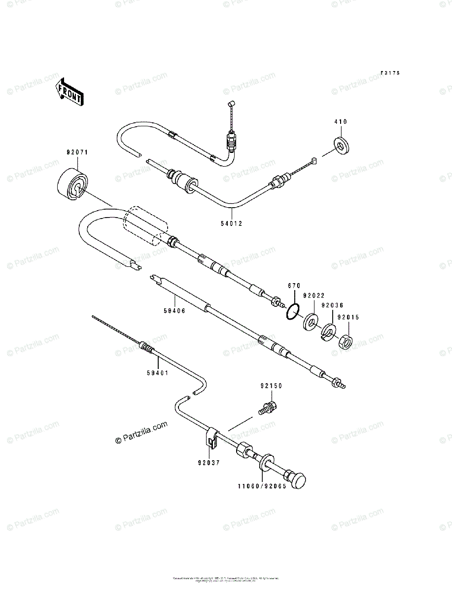 Kawasaki Jet Ski 1991 OEM Parts Diagram for Cables