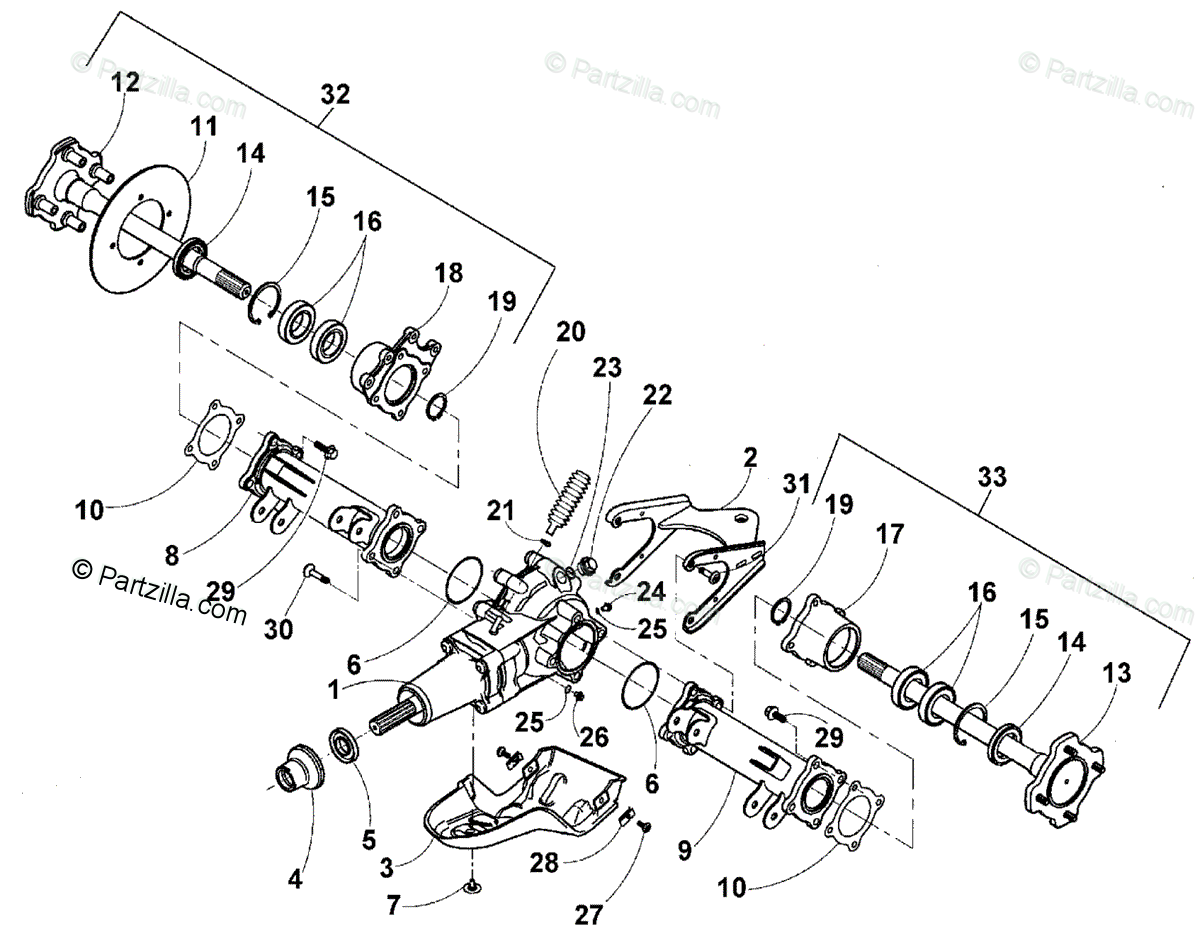 Arctic Cat ATV 2001 OEM Parts Diagram for Rear Axle