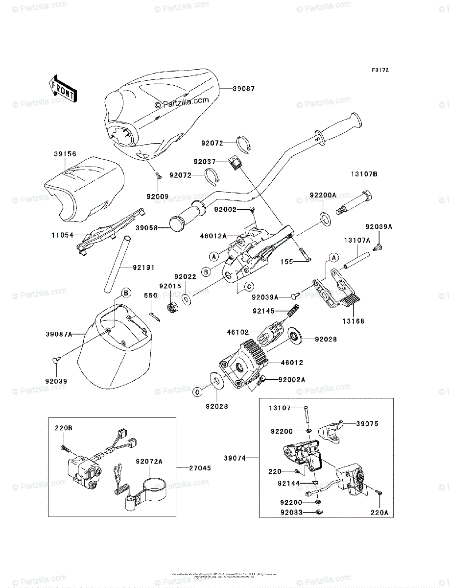 Kawasaki Jet Ski 2011 OEM Parts Diagram for HANDLEBAR