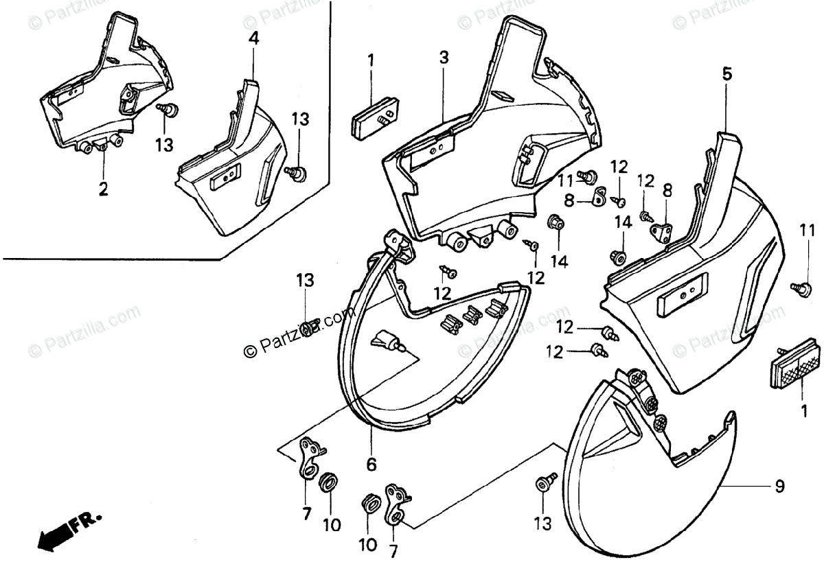 Honda Motorcycle 1989 OEM Parts Diagram for FRONT DISK