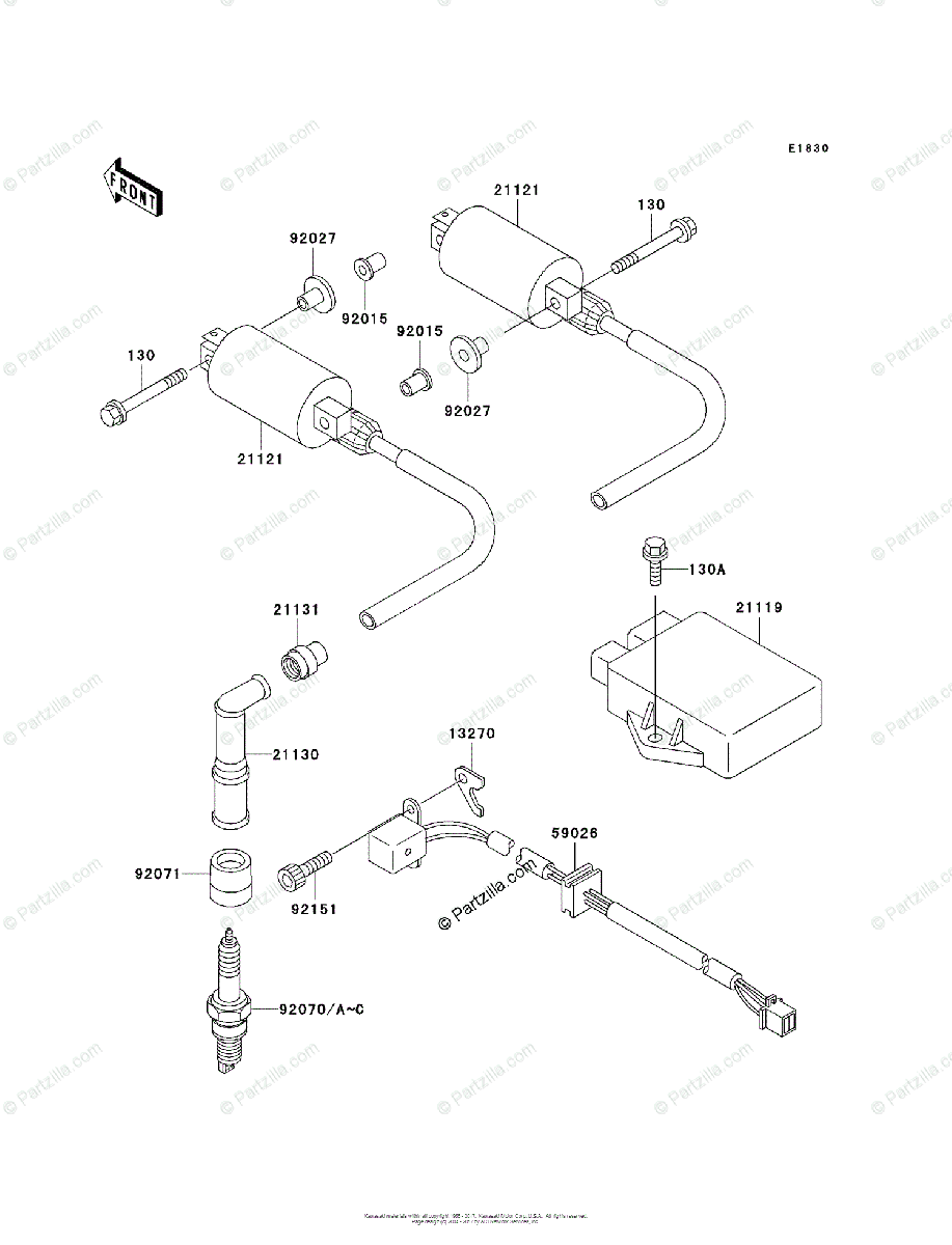 Kawasaki Motorcycle 2001 OEM Parts Diagram for Ignition