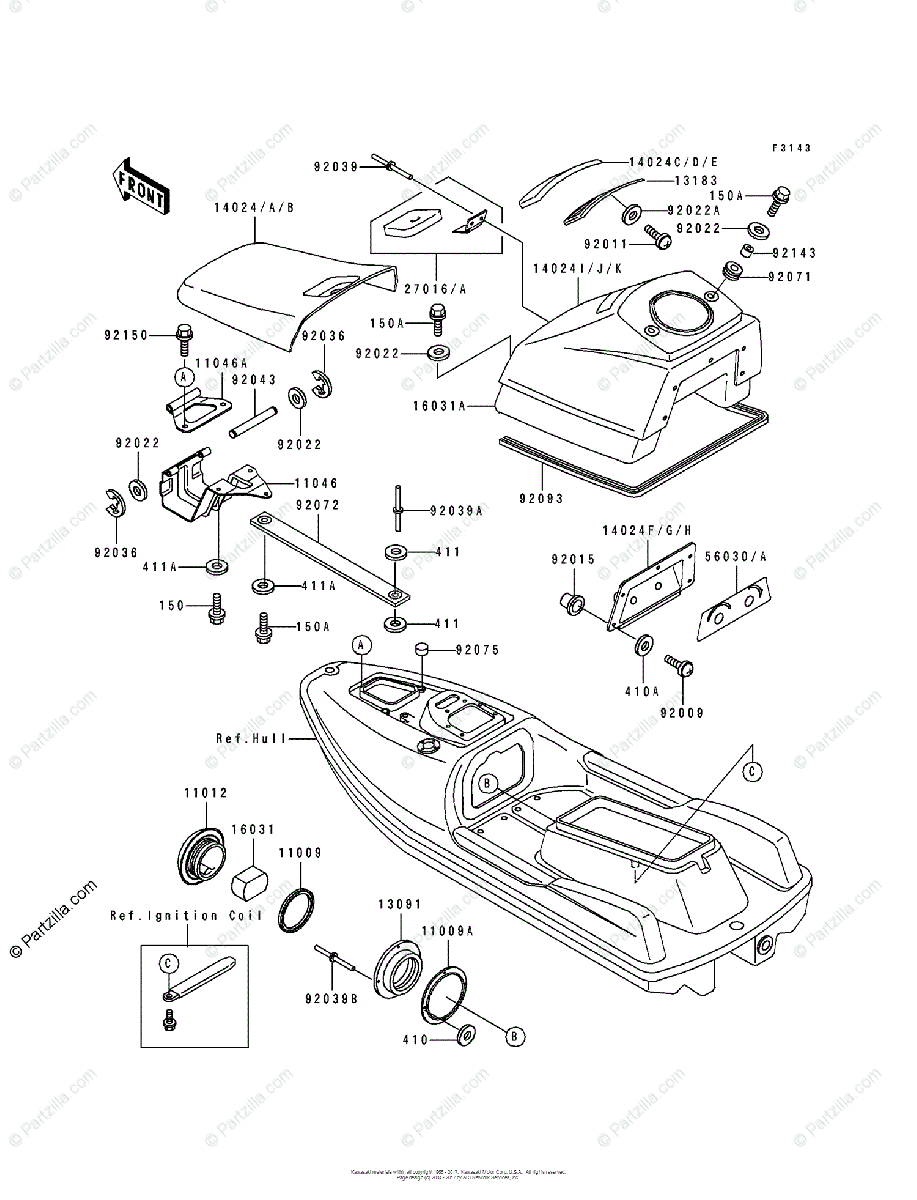Kawasaki Jet Ski 1992 OEM Parts Diagram for Hull Fittings