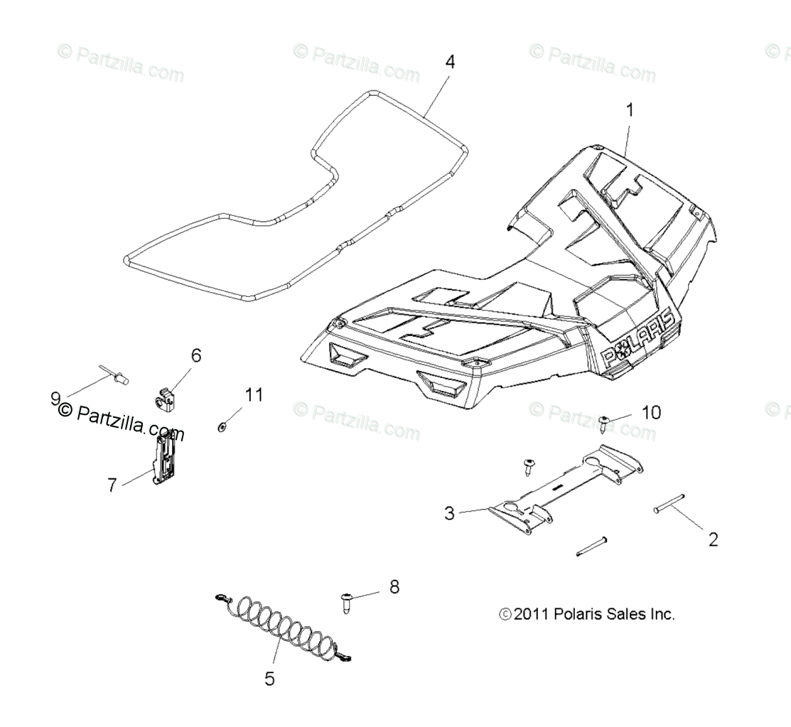 Polaris ATV 2012 OEM Parts Diagram for Body, Storage