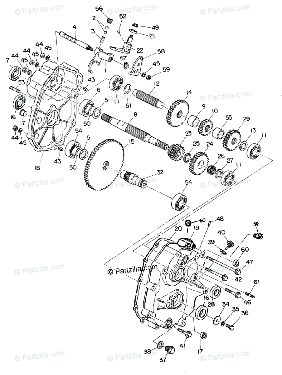 Polaris ATV 1991 OEM Parts Diagram for Gearcase Assembly
