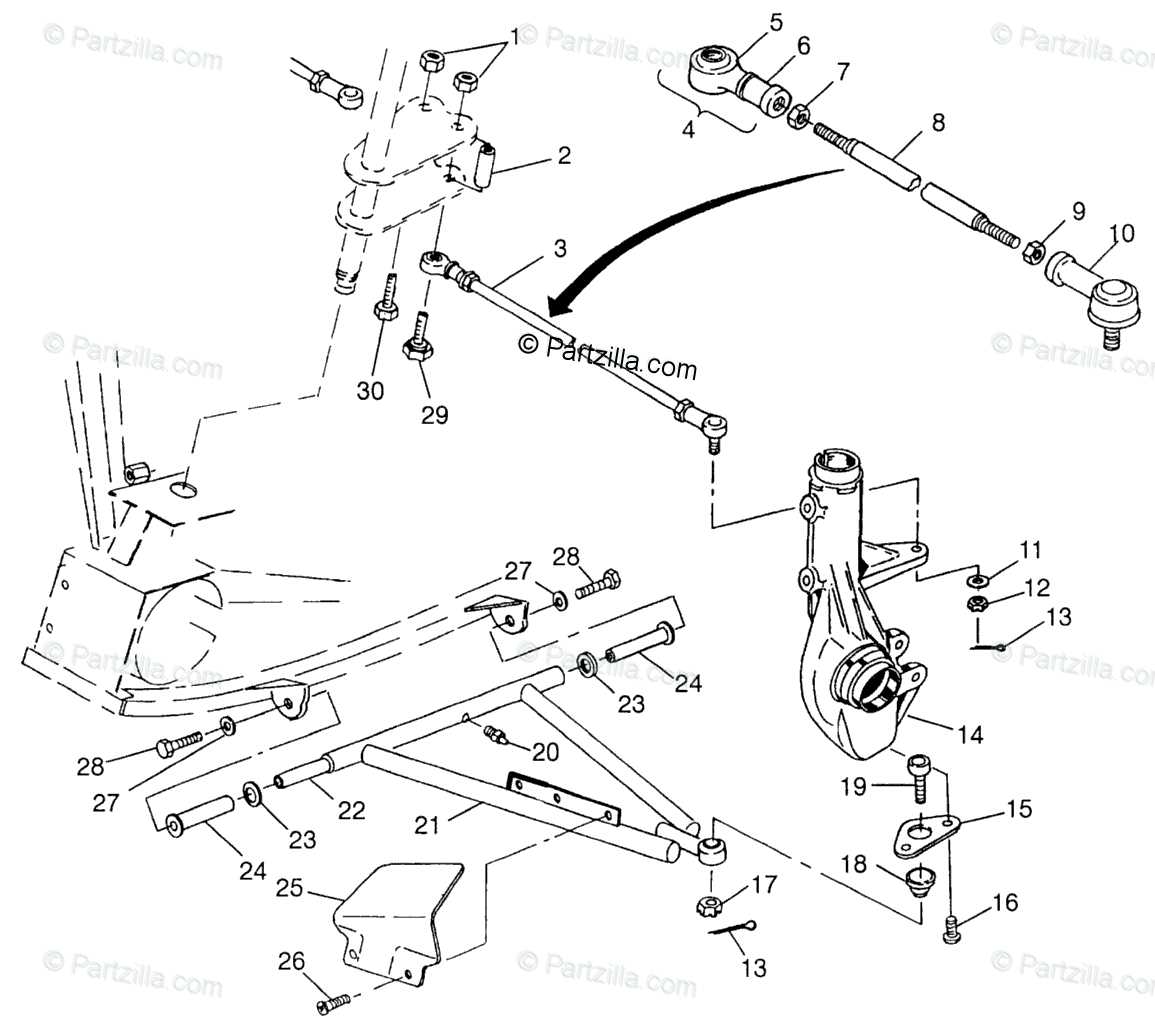 Polaris ATV 1997 OEM Parts Diagram for Aarm/Strut Mounting
