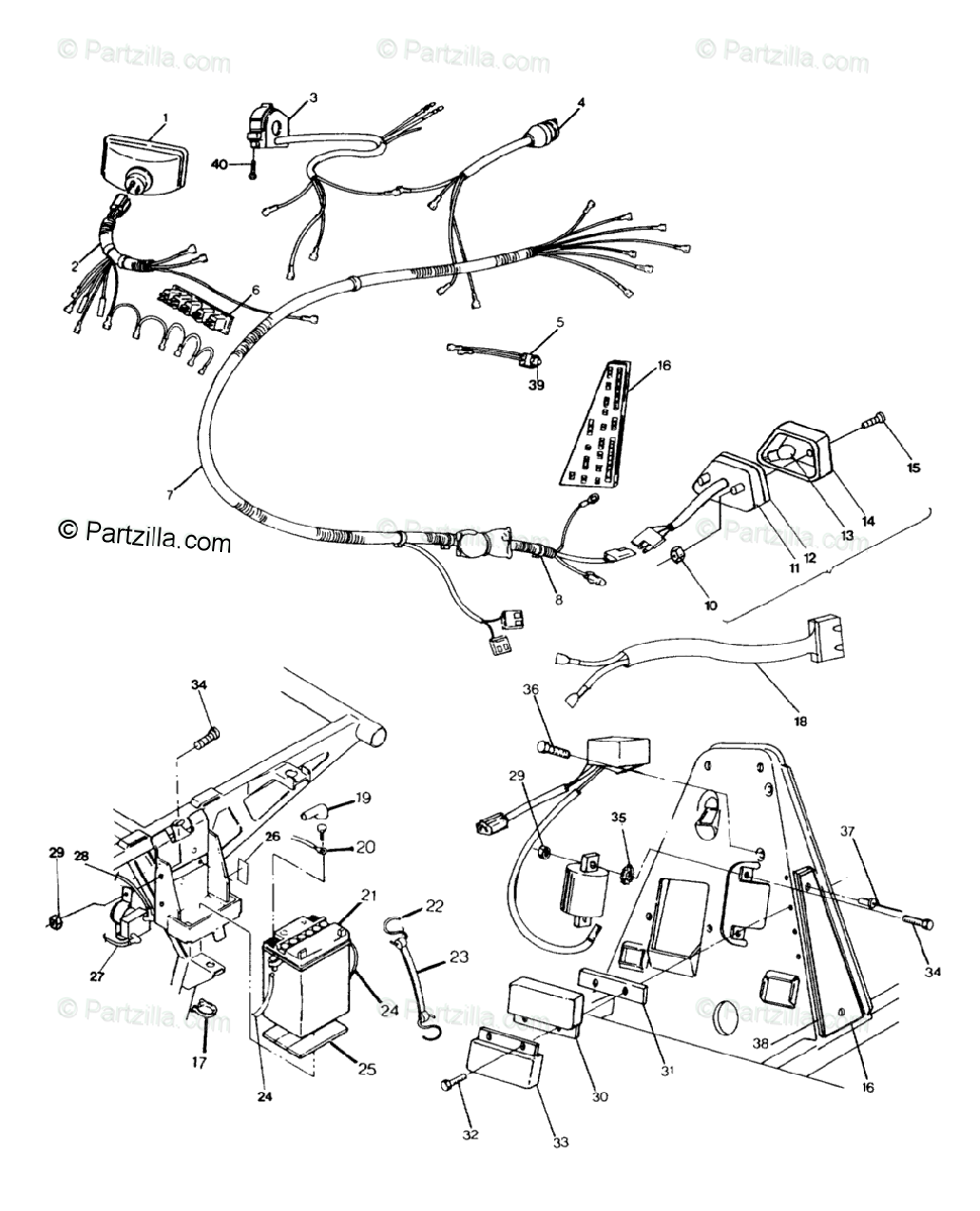 Polaris ATV 1992 OEM Parts Diagram for Wiring Harness 250