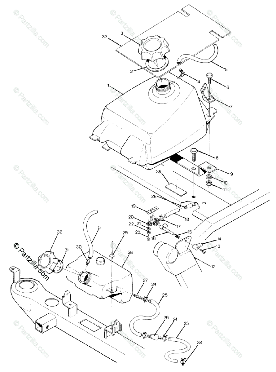 Polaris ATV 1990 OEM Parts Diagram for Fuel Tank Assembly