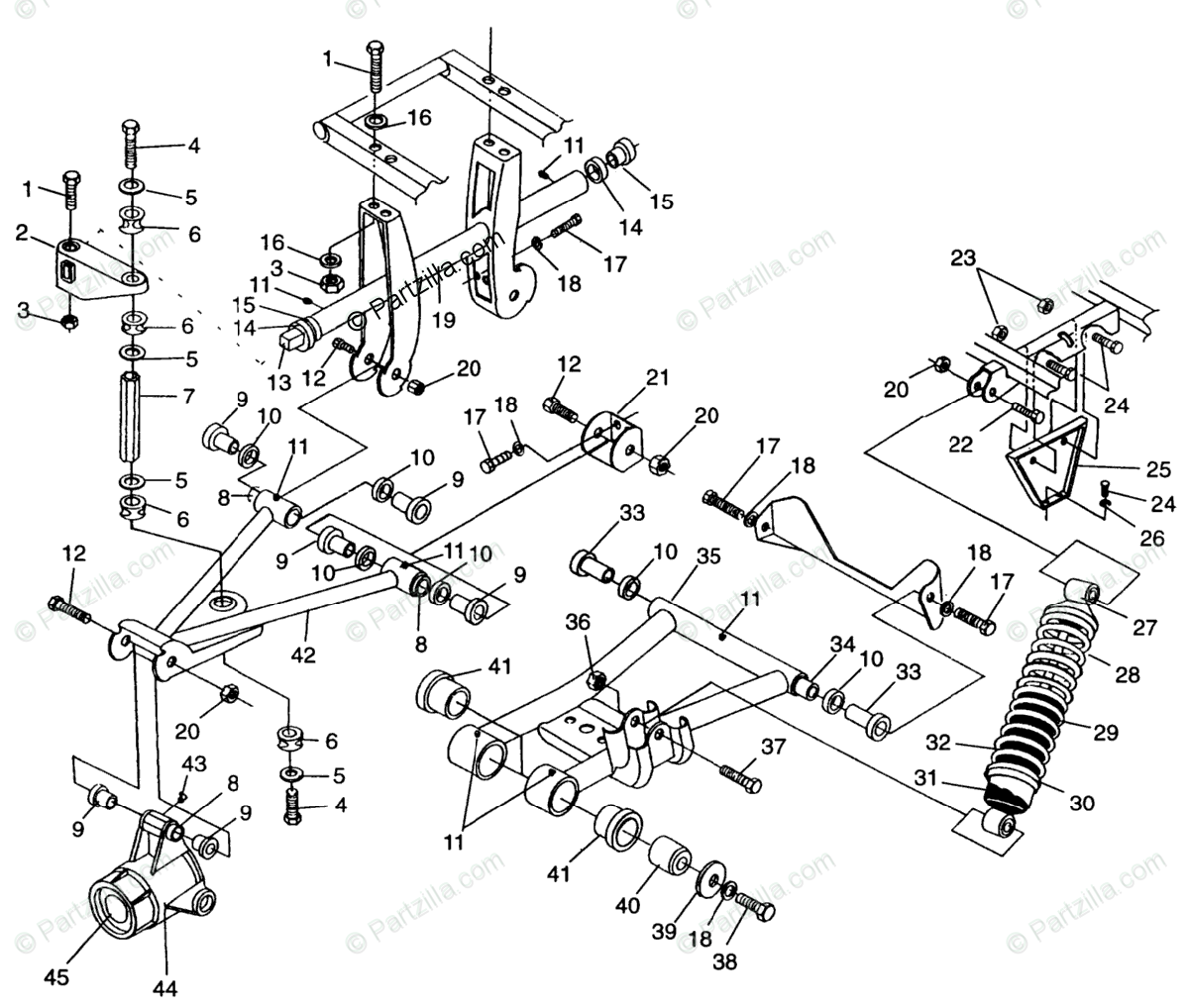 Polaris ATV 1996 OEM Parts Diagram for Rear Suspension