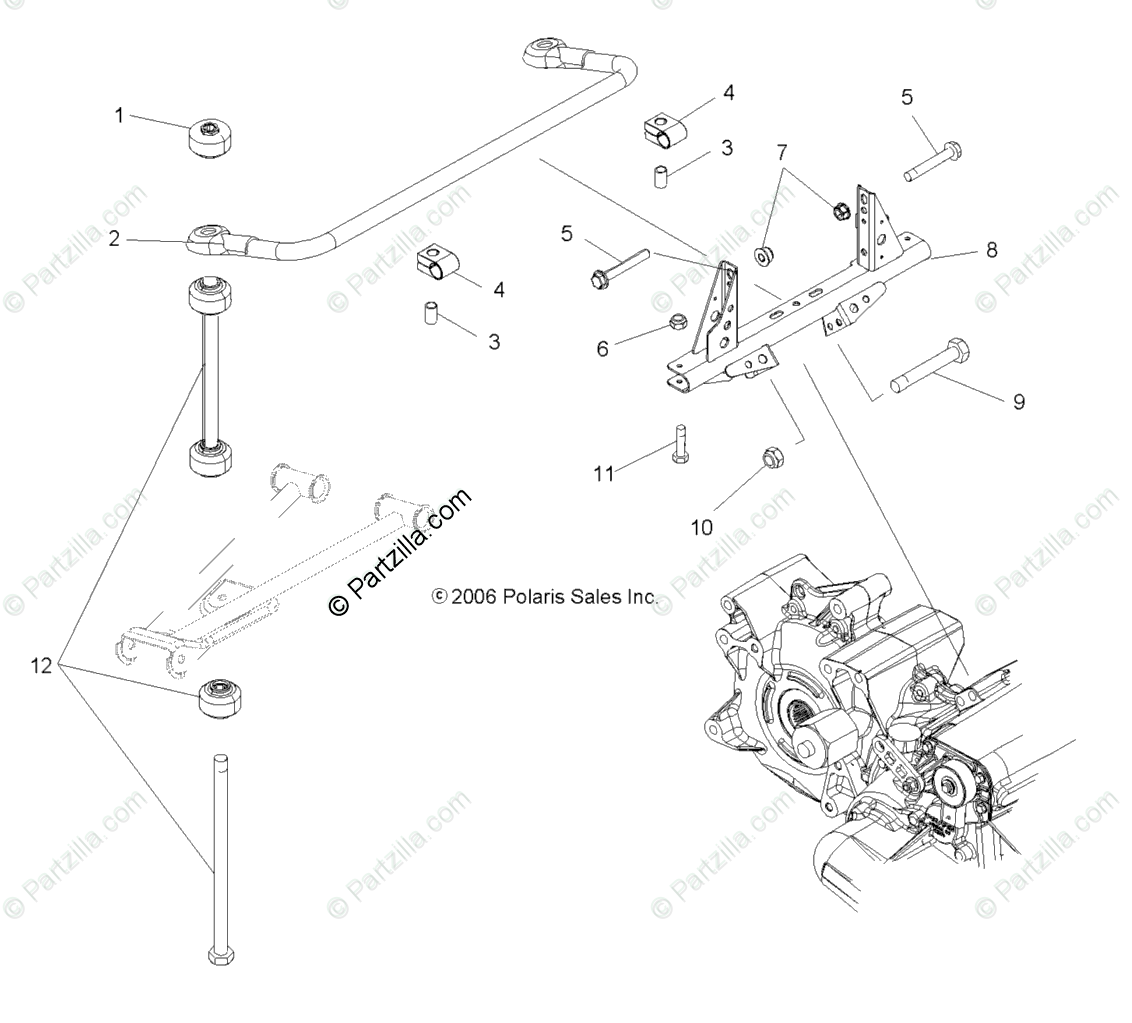 Polaris ATV 2007 OEM Parts Diagram for Torsion Bar