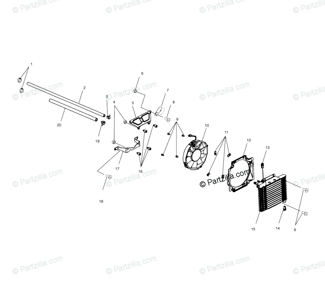Polaris ATV 2000 OEM Parts Diagram for Oil Cooling