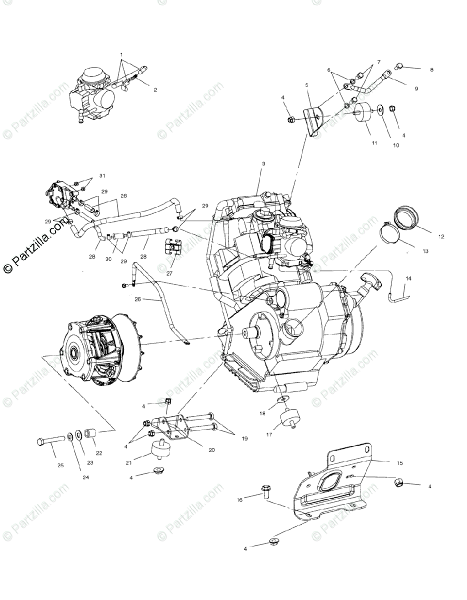 Polaris ATV 2002 OEM Parts Diagram for Engine Mounting /Ab