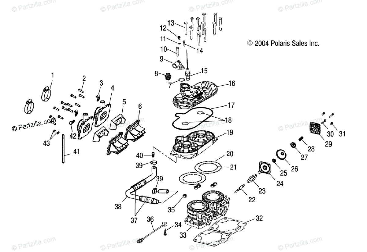 Polaris Snowmobile 2005 OEM Parts Diagram for Cylinder
