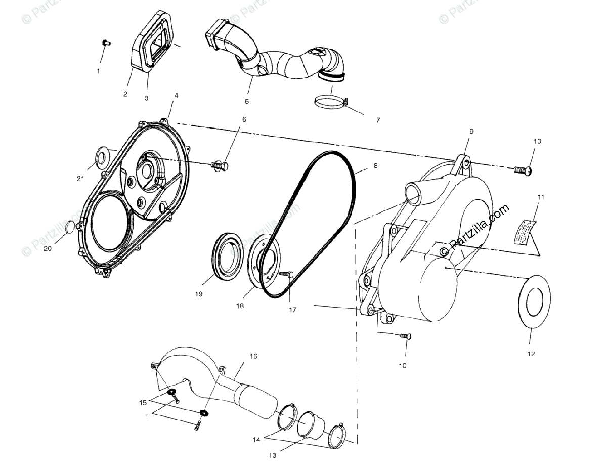 Polaris ATV 2001 OEM Parts Diagram for Clutch Cover