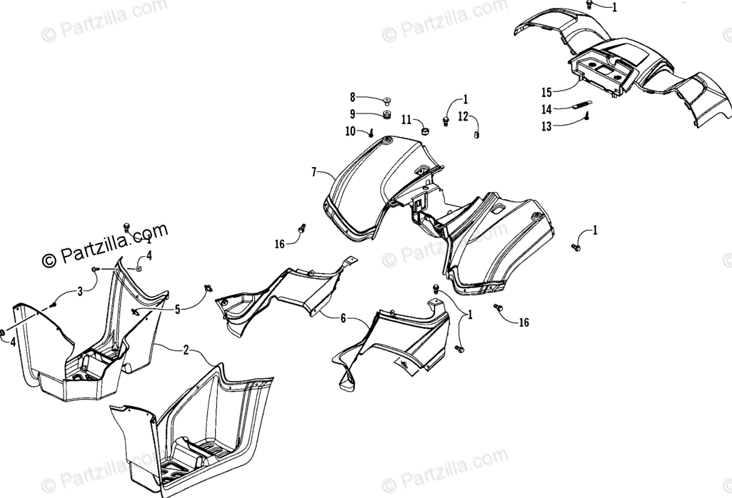 Arctic Cat ATV 2008 OEM Parts Diagram for Rear Body Panel