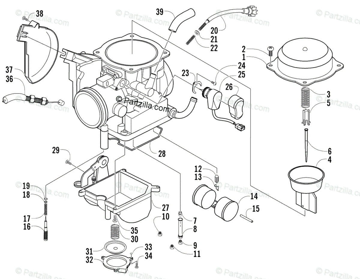 Arctic Cat ATV 2005 OEM Parts Diagram for CARBURETOR
