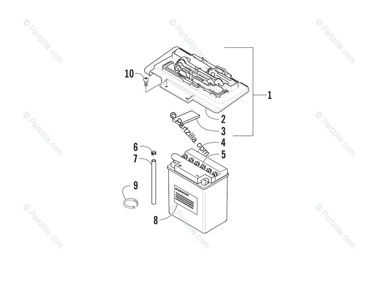 Arctic Cat ATV 2005 OEM Parts Diagram for Battery Assembly