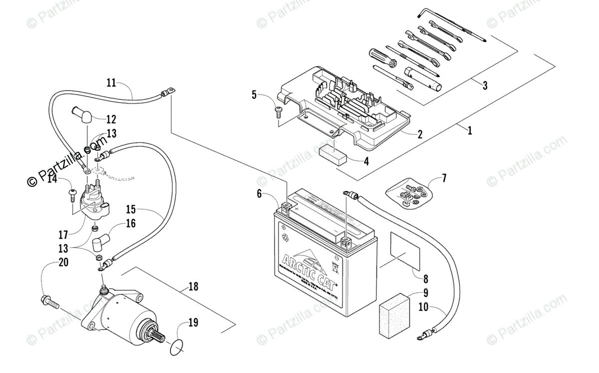 Arctic Cat ATV 2013 OEM Parts Diagram for Battery And