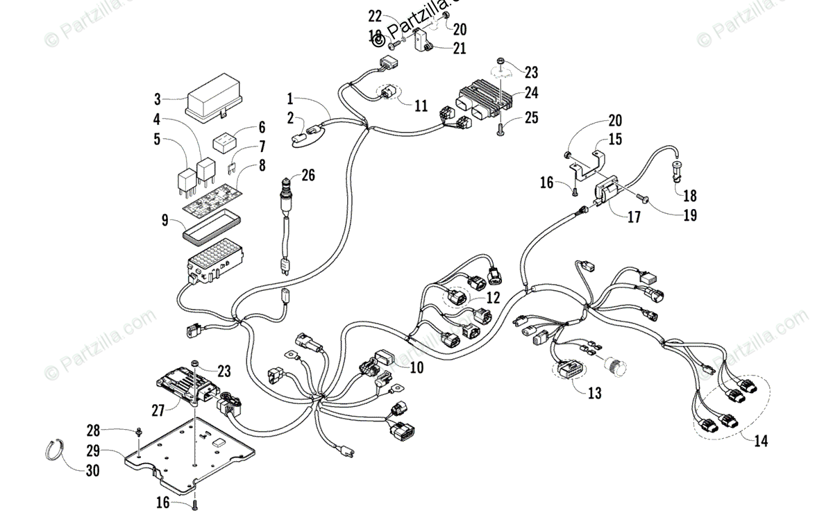 Arctic Cat ATV 2013 OEM Parts Diagram for Wiring Harness