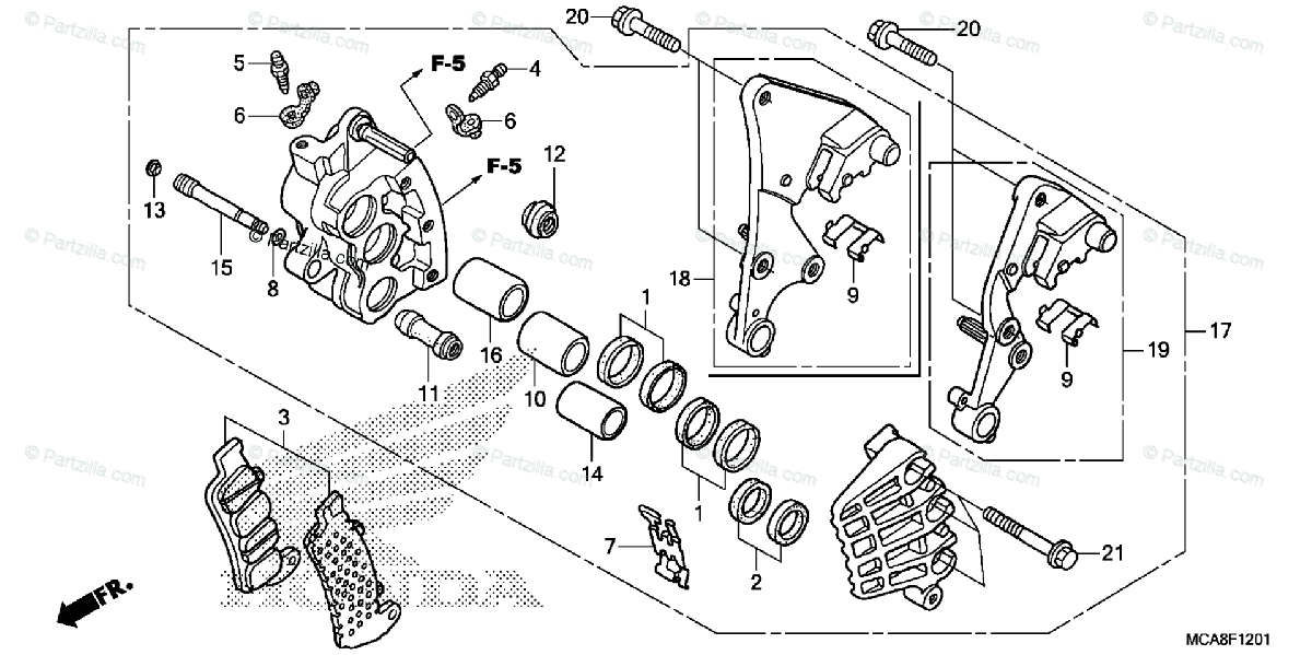 Honda Motorcycle 2012 OEM Parts Diagram for Right Front
