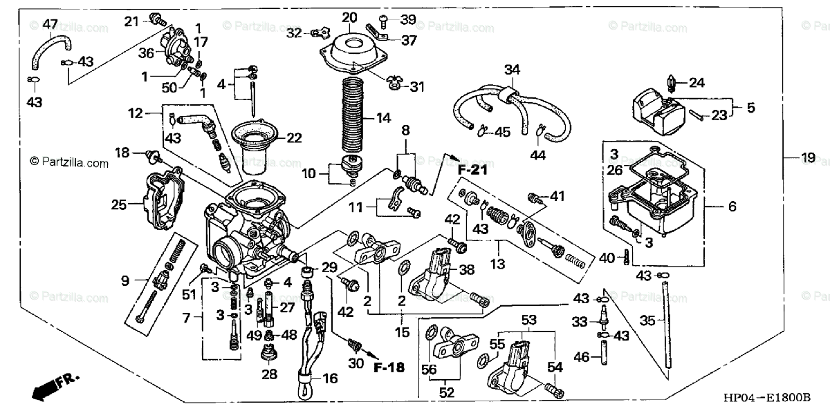 Honda ATV 2005 OEM Parts Diagram for Carburetor