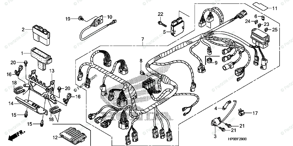 Honda ATV 2011 OEM Parts Diagram for Wire Harness