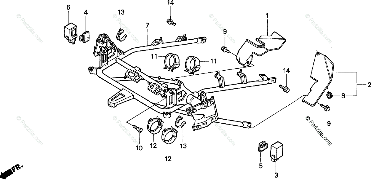 Honda Motorcycle 1989 OEM Parts Diagram for Cowl Stay