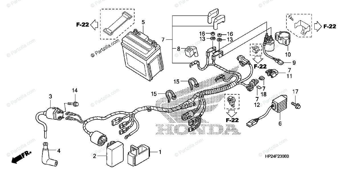 Honda ATV 2006 OEM Parts Diagram for Wire Harness
