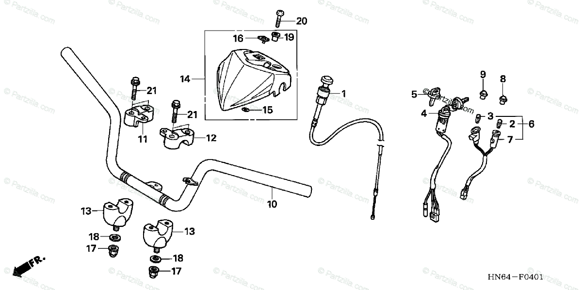 Honda ATV 2007 OEM Parts Diagram for Handlebar ('06