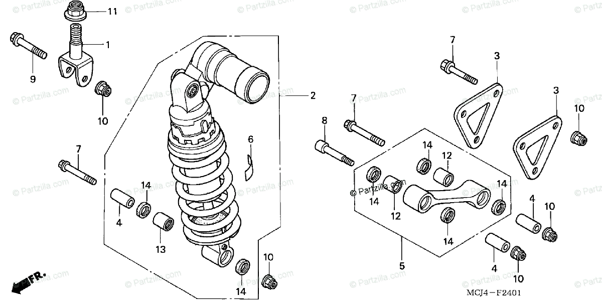 Honda Motorcycle 2002 OEM Parts Diagram for Rear Shock
