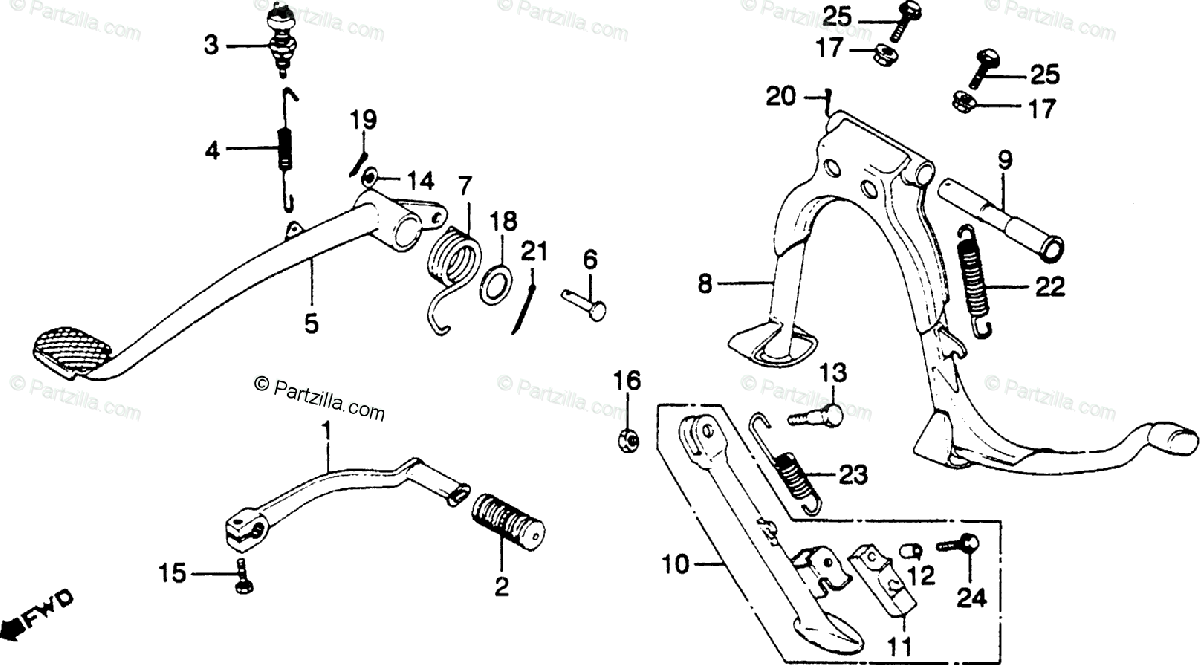 Honda Motorcycle 1982 OEM Parts Diagram for Pedal / Stand